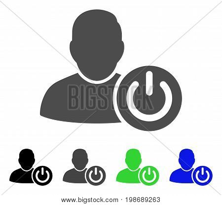 User Log Off flat vector pictogram. Colored user log off, gray, black, blue, green pictogram variants. Flat icon style for graphic design.