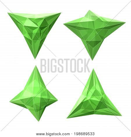 Vector set of views of transparent complex geometric shape based on tetrahedron. Four types of perspective views