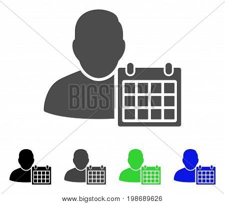 User Schedule Calendar flat vector pictograph. Colored user schedule calendar, gray, black, blue, green pictogram variants. Flat icon style for application design.