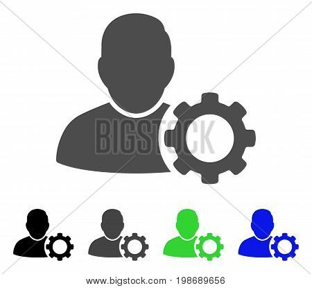 User Settings Gear flat vector pictograph. Colored user settings gear, gray, black, blue, green pictogram variants. Flat icon style for application design.