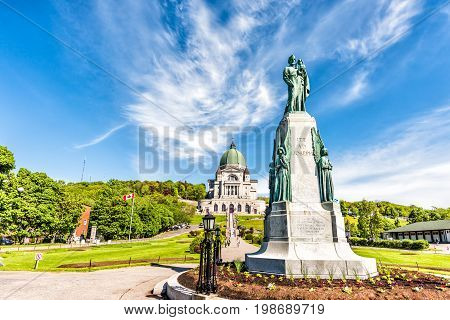 Montreal Canada - May 28 2017: St Joseph's Oratory on Mont Royal with statue in Quebec region city
