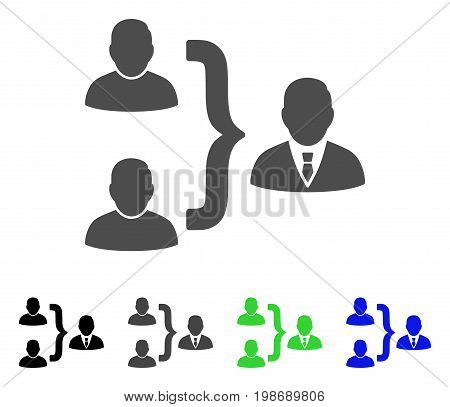 User Union flat vector pictograph. Colored user union, gray, black, blue, green pictogram versions. Flat icon style for graphic design.