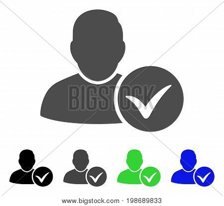 Valid User flat vector pictograph. Colored valid user, gray, black, blue, green pictogram variants. Flat icon style for application design.