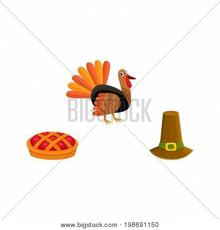 Set of thanksgiving symbols - turkey, pumpkin pie and pilgrim hat, cartoon style vector illustration isolated on white background. Cartoon set of thanksgiving symbols - turkey, pie and pilgrim hat