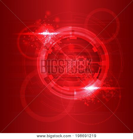 Red particles flowing towards on dark background. Vector illustration. Abstract molecules impact. Connection Structure. Geometric Modern Technology Concept.