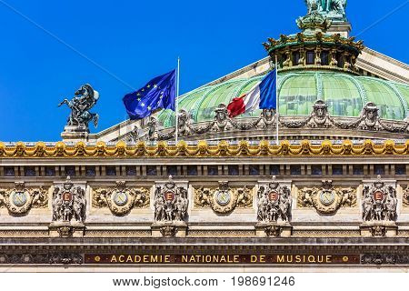 Architectural details of the Opera National de Paris. Grand Opera (Opera Garnier) is famous neo-baroque building in Paris. Designed by Charles Garnier in 1875. Paris France