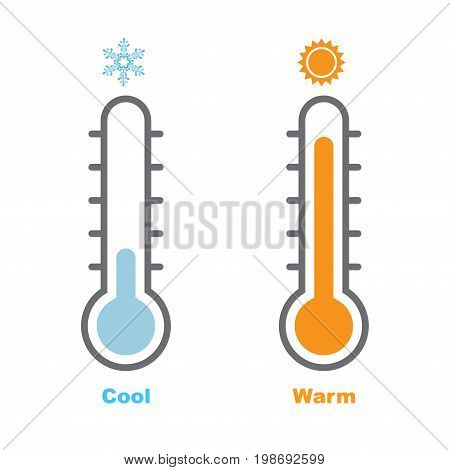 Vector Illustration of Thermometer with warm and cool levels flat style EPS10.