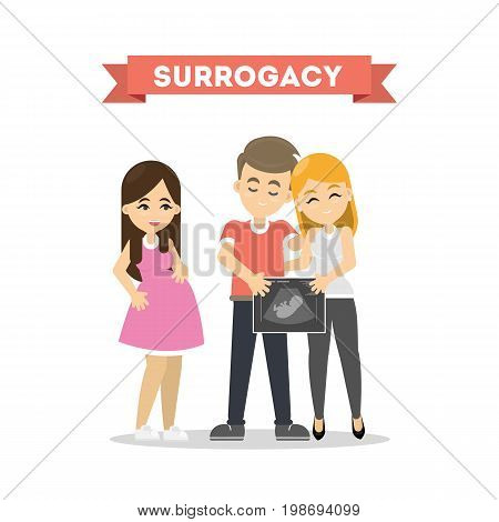 Surrogacy illustration concept. Family couple wait for new child with surrogate mother.