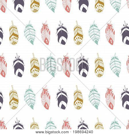 Cute seamless pattern with hand drawn set of different feathers. Bird feather collection in doodle style. Vector illustration