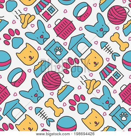 Pet care seamless pattern with thin line icons of dog, cat, accessories, food, toys. Vector illustration for banner or web page for vet clinic, pet shop or shelter.