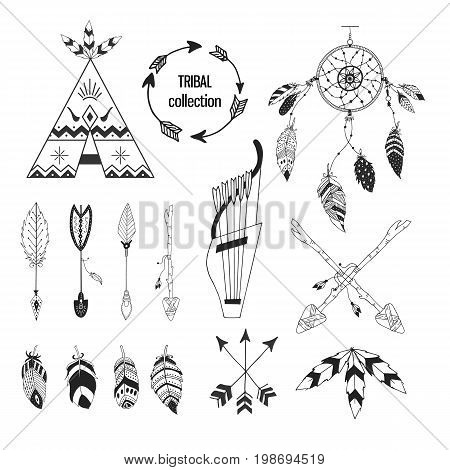 Tribal collection of hand drawn elements in boho style. Feather, tipi and arrows. Vector illustration