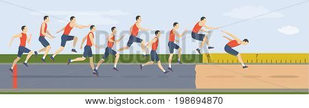 Triple jump moves illustration. Man jumps in uniform.