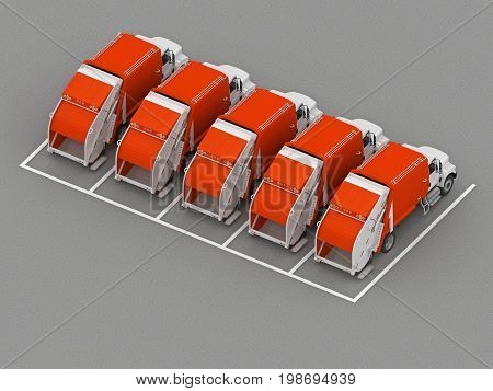 Garbage truck parking view from above. 3d rendering