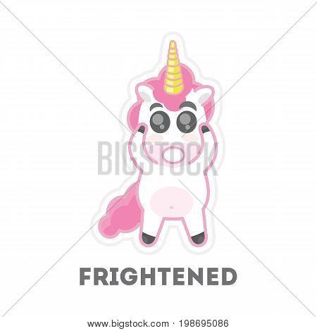 Isolated frightened unicorn. Funny cartoon mythicak animal.