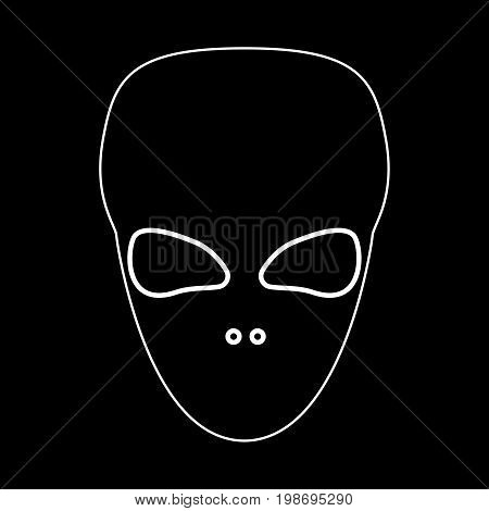 Extraterrestrial Alien Face Or Head White Color Path Icon .