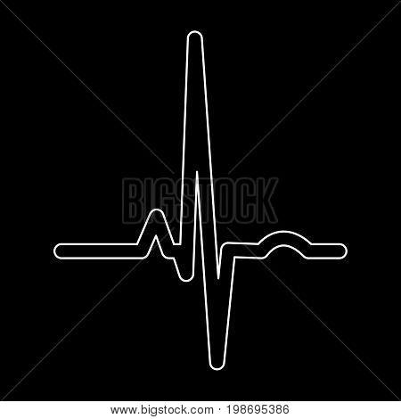 Heart Rhythm Ekg White Color Path Icon .