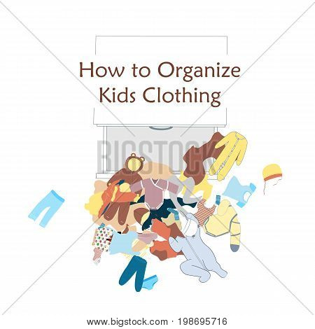 Open Dresser Drawer and messy kids clothing on the floor. Vector illustration about clothing organizing. Taken out wardrobe