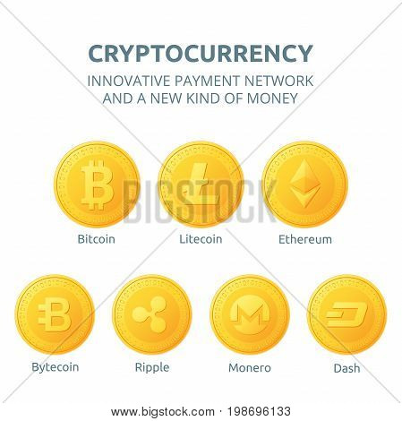 Ethereum litecoin and bitcoin ripple dash monero bytecoin icons is a golden color. Cryptocurrency icons set isolated on white background. Vector illustration.