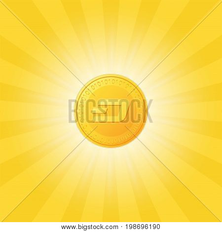 Dash icon is a golden color. Crypto currency on a abstract background with light rays. Vector Illustration.