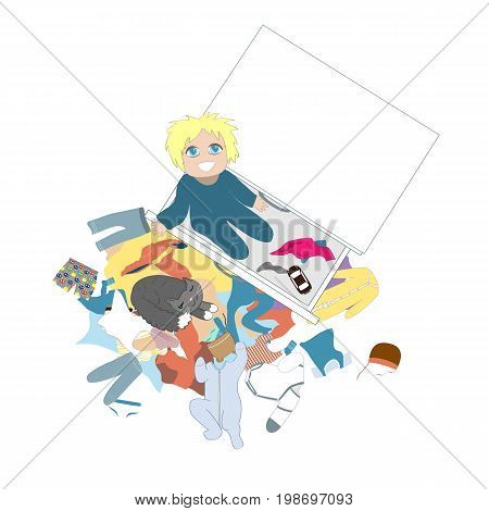 Curious baby looking out of the the children's chest of drawers. Happy kid is taking everything out from the dresser drawer. Messy clothing concept. Vector illustration