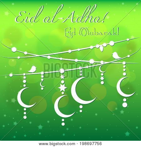 Card with garland on green background for greetings with Islamic Feast of Sacrifice Eid al-Adha as well with Ramadan and Eid al-Fitr. Vector illustration