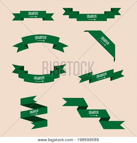Vector set of scrolled isolated ribbons or banners in colors and with symbols of Saudi Arabia flag.