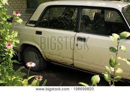 Old car with body damaged by rust. Through car paint appear rusty spots.