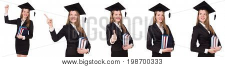 Young graduate isolated on white