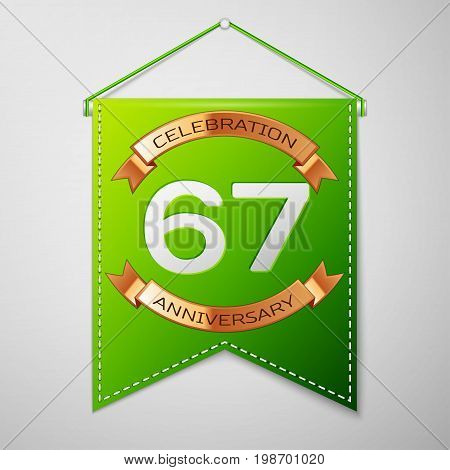 Realistic Green pennant with inscription Sixty seven Years Anniversary Celebration Design on grey background. Golden ribbon. Colorful template elements for your birthday party. Vector illustration