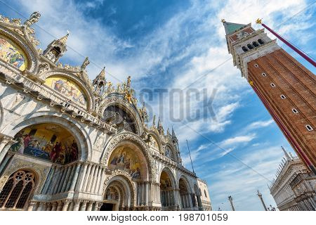 Basilica di San Marco (Saint Mark`s Basilica) and Campanile in the Piazza San Marco in Venice, Italy. This is the main square of Venice.