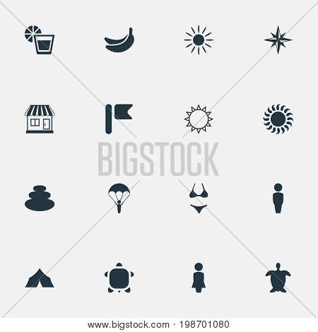 Vector Illustration Set Of Simple Beach Icons