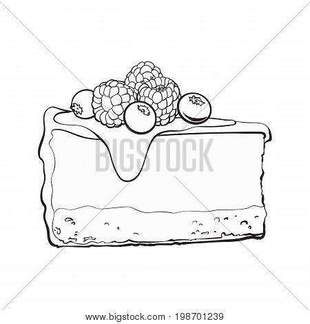 black and white hand drawn piece of cheesecake decorated with fresh berries, sketch style vector illustration isolated on background. Realistic hand drawing of piece, slice of cheesecake, cheese cake