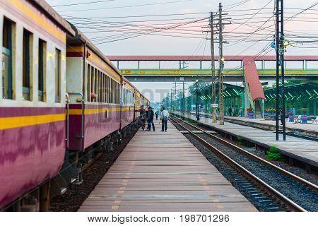Saraburi, Thailand - February 15, 2017: Train (Thai Railways) waits along the platform on Kaeng Khoi Railroad Junction.