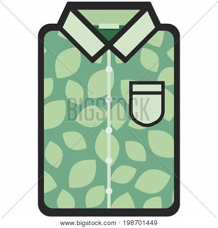 Vector Icon of a green modern shirt with leaves for men or women in flat style. Pixel perfect. Bussiness and office look. For shops and stores