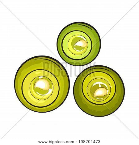 Top view set of round candles, spa salon accessories, sketch vector illustration on white background. Realistic hand drawing of rounds candles for aromatherapy, spa salon accessory