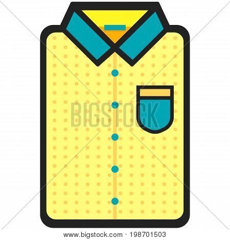 Vector Icon of a modern yellow shirt withdots for men or woman in flat style. Pixel perfect. Bussiness and office look. For shops and stores