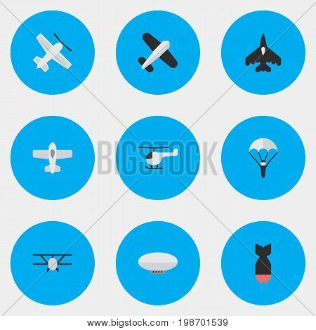 Vector Illustration Set Of Simple Aircraft Icons
