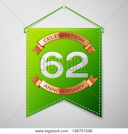 Realistic Green pennant with inscription Sixty two Years Anniversary Celebration Design on grey background. Golden ribbon. Colorful template elements for your birthday party. Vector illustration