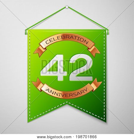 Realistic Green pennant with inscription Forty two Years Anniversary Celebration Design on grey background. Golden ribbon. Colorful template elements for your birthday party. Vector illustration