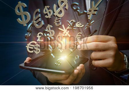 Symbols Of Money Shows A Businessman On His Tablet.