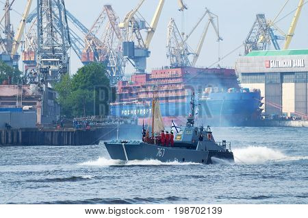 30.07.2017 Russia.Saint-Petersburg.Day of the Russian Navy in 2017 was carried out with particular solemnity.The Neva will be warships of all navies.