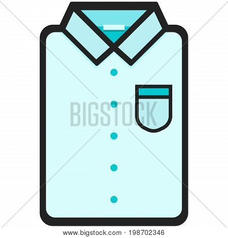 Vector Icon of a classic blue shirt  for men or woman in flat style. Pixel perfect. Bussiness and office look. For shops and stores