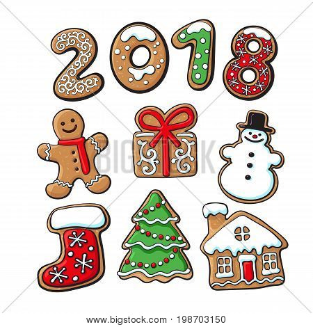 Set of homemade gingerbread cookies - Christmas elements and 2018 numbers, sketch vector illustration isolated on white background. Christmas gingerbread cookies - Xmas elements and 2 0 1 8 numbers