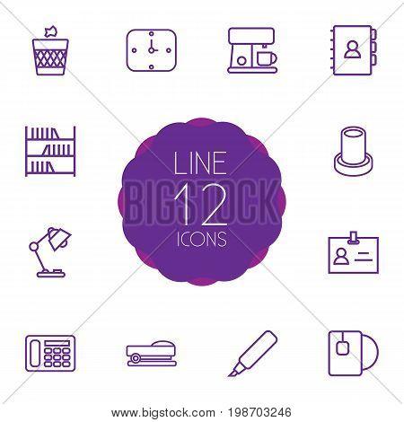 Set Of 12 Workspace Outline Icons Set