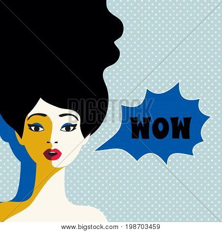 WOW expression concept. Shocked pretty woman face with open mouth, wide open eyes. Surprised cool girl in pop art retro style on grunge background. Wow bubble text. Vector vintage illustration
