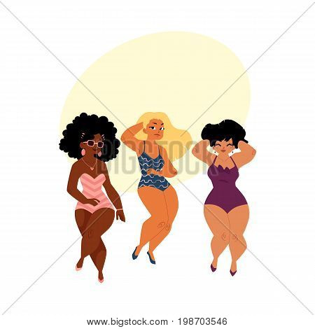 plump, curvy women, girls, plus size models in swimming suits, top view cartoon vector illustration with space for text. Beautiful plump, overweight women, girls in swimming suits