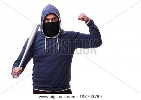 Young man hooligan with baseball bat isolated on white