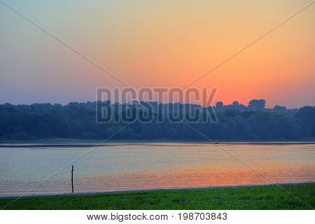 Sunrise over Danube river in Moldova
