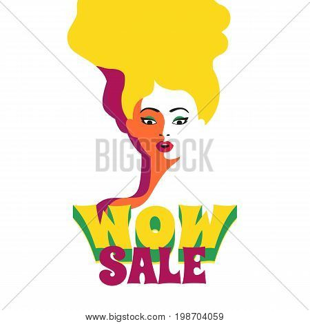 WOW expression concept. Shocked blonde woman face. Design idea for price discount advertisement. Surprised girl in pop art retro style on white background. Wow sale text. Vector vintage illustration