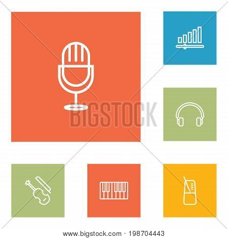 Set Of 6 Music Outline Icons Set